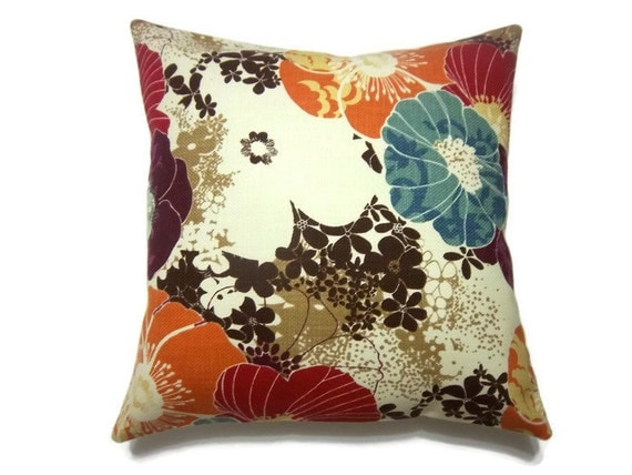 Two Tangerine Orange Aqua Purple Red Brown Cream Decorative Pillow Covers Accent Toss Throw 16 inch