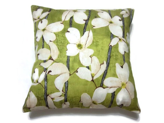 Olive Green Decorative Pillow : Decorative Pillow Cover Olive Green Cream Gray Dogwood Toss