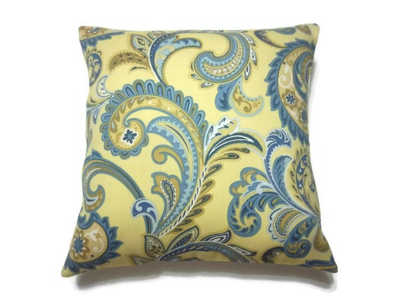 Decorative Pillow Cover Blue Yellow Gold White Paisley Accent Toss Throw 16 inch