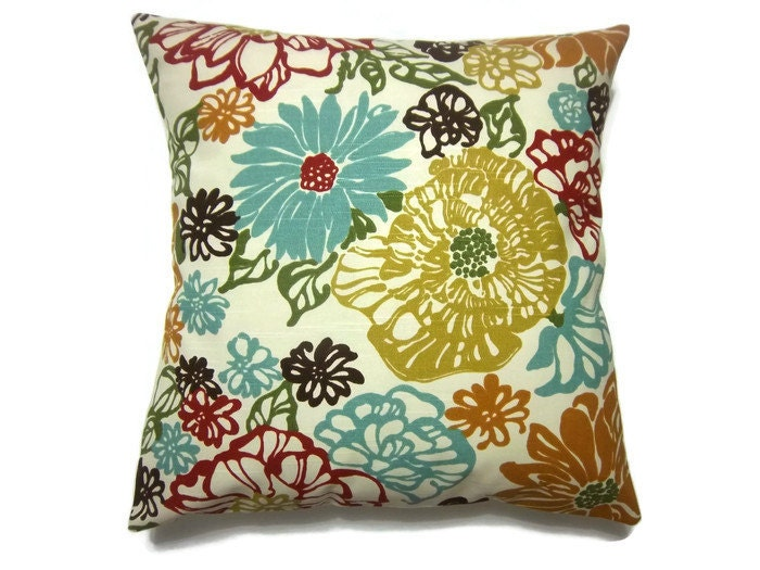 Decorative Pillow Cover Red Orange Turquoise Pumpkin Brown