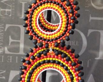 Double Hoop Earrings Night Fire Multicolored Bohemian Seed Bead Earrings