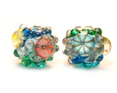 Beach Party Rockpools - Handcrafted Lampwork Rockpool Glass Bead Pair by Clare Scott SRA