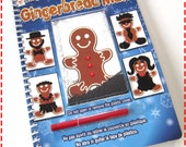 Kids' Notebook MAGNETIC CHRISTMAS GINGERBREAD Man Recycled Journal, Fun Toy Gift Stocking Stuffer, Add a Mustache Moustache and a Beard