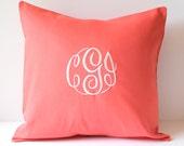 Custom Monogram Pillow Cover 18 x 18. Dorm Decor. Bestfriends Gift. Nursery Decor. Farmhouse Decor. Cottage Chic. Decorative Throw Pillows.