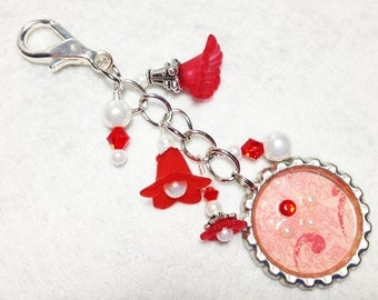 Red and white beaded flower key chain - purse / backpack  dangle charm zipper pull