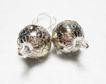 Silver ball -  sterling silver plated round flower filigree earrings - dangle earrings - drop earrings