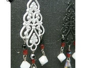 CLEARANCE SALE 50% OFF - Elegant Red, Black and White Gothic Filigree Earrings