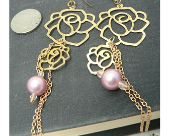 Clearance SALE 40% off - Baroque Gold and Pink Pearl Rose Tassel Earrings