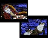 Santa and his Reindeer in Mosaic, Ten Postcards