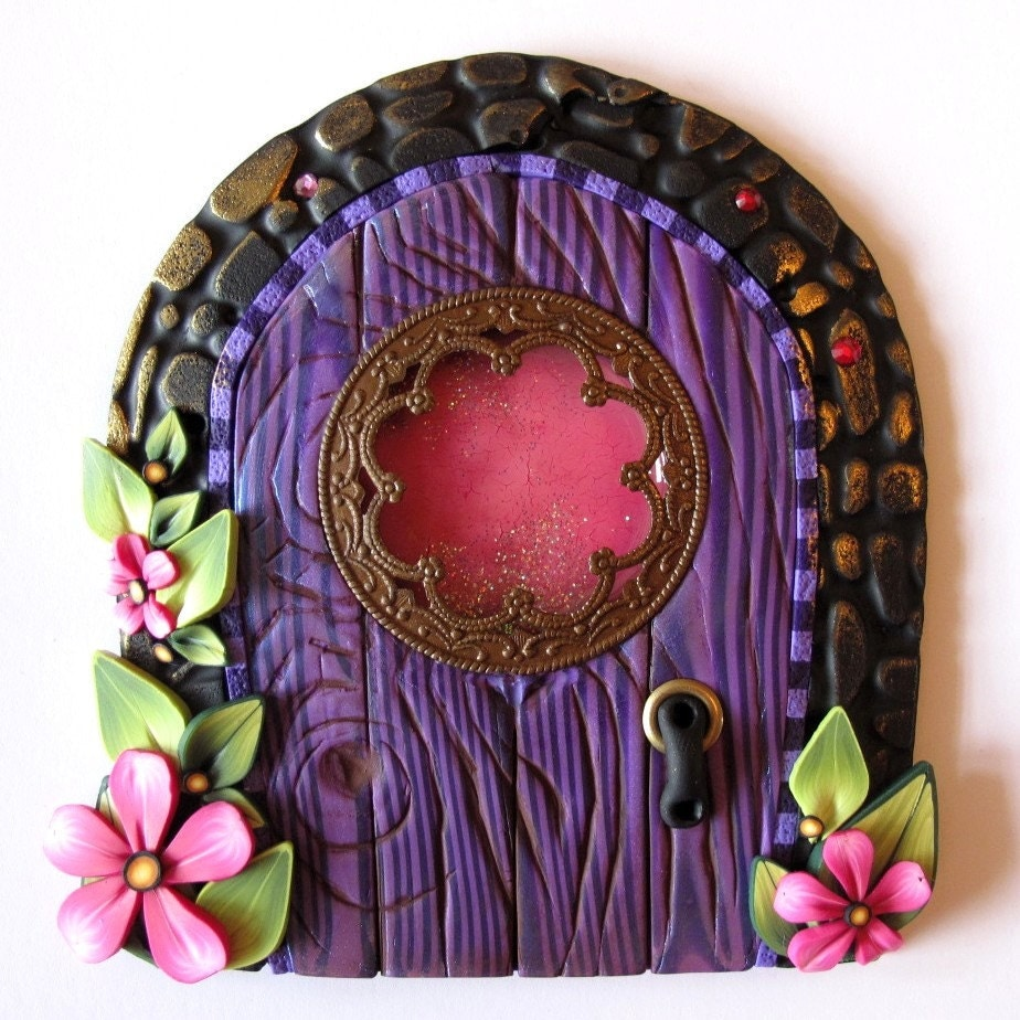 Fancy window fairy door pixie portal for Fairy house doors