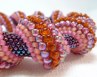 Summer Sunset Cellini Spiral Beadwoven Bangle Bracelet