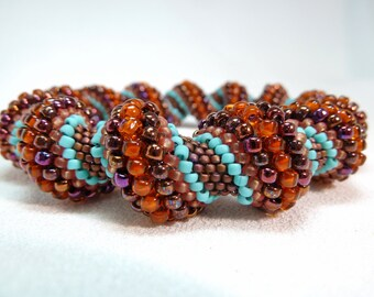 ON SALE - Burnished Leather Cellini Spiral Beadwoven Bracelet