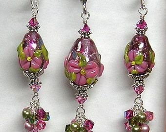 Handmade Artisan Crafted Pink Dichroic Lampwork Art Glass Easter Egg Earrings and Pendant by Glitterbug Originals SRAJD