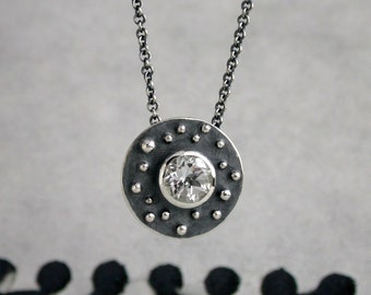 Asteroids Necklace -  White Topaz