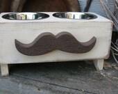 Elevated Dog Feeder, Dog Dish, Mustache Dog Feeder, Custom