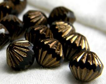 Golden Midnight (12) -Czech Glass Fluted Bicones 9mm