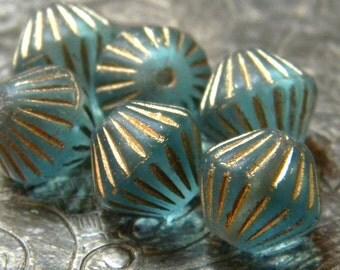 Sea Treasure (6) -Czech Glass Fluted Bicones 11x10mm
