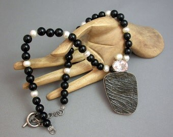 Fantastic Crinoid Fossil in Sterling, Topaz and Freshwater Pearls/REDUCED