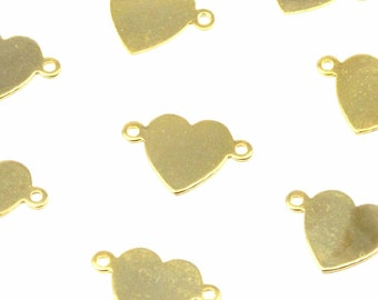 Vintage Gold Plated Engravable Double Bail Heart Charms (8X) (V322)