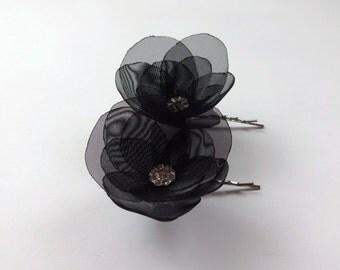 Black Organza Flower Hair Pins, Shoe Clips