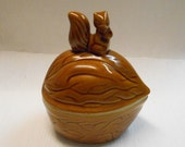 Vintage Squirrel and Acorn Covered Dish