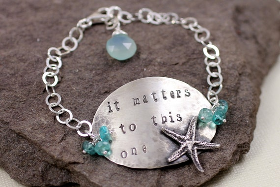 It Matters To This One- Sterling Silver And Apatite Starfish Bracelet