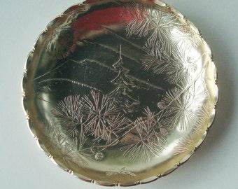 Vintage Arthur Armour Pine Cone Pinecone Gold Aluminum Dish