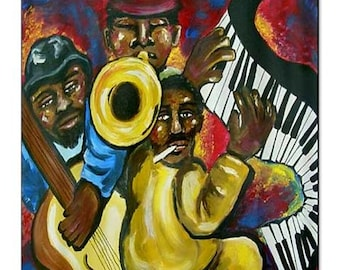 African American Funky Jazz Musicians Folk Art Whimsical Colorful Bathroom Shower Curtain
