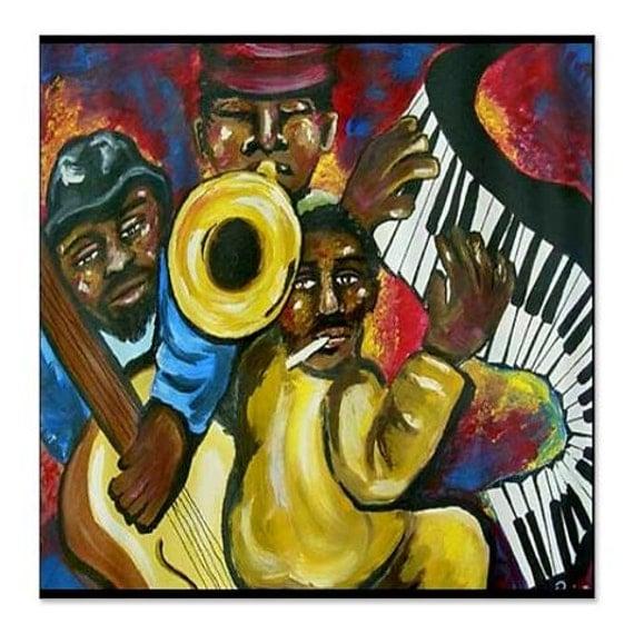 African American Funky Jazz Musicians Folk Art Whimsical
