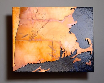 Copper Metal Map Art of Massachusetts, 8x10 inch