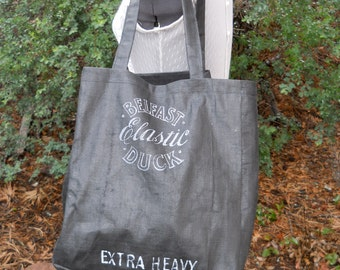 Sale -- grocery bag -- Pirate Gear -- Reusable grocery sack -- black canvas -- market bag - upcycled - OOAK -- Ireland Shopping Tote