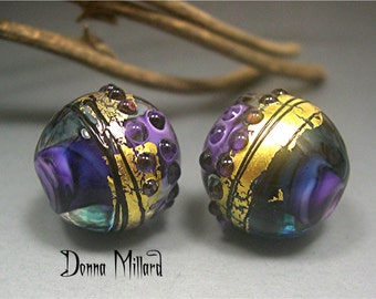HANDMADE LAMPWORK earring pair beads Donna Millard sra summer fall autumn purple 22K gold teal boho gypsy organic assemblage