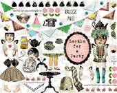 ART TEA LIFE Bugaboo Buzz Collage Sheet Journal Page Scrapbooking clip art Digital File paper doll card gift tag altered art parts decoupage