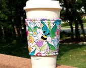 Fabric coffee cozy / coffee cup holder / coffee sleeve / tea sleeve -- Mary Engelbreit Bees in the Garden