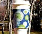 FREE SHIPPING UPGRADE with minimum -  Fabric coffee cozy / cup sleeve / coffee sleeve  - Lime Bursts on Blue