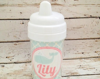 personalized PREPPY girl spill proof sippy cup in mint with whale design