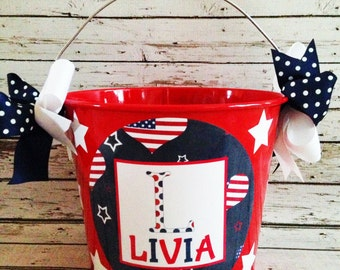 Red White & Blue Hearts Pail