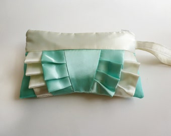Seafoam Green and Ivory Ruffled Clutch
