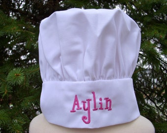 Custom Personalized Girls or Boys white or royal blue Chef Hat