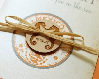 Vintage Mexico Stamp Passport Wedding Invitation (Puerto Vallarta, Mexico) - Design Fee