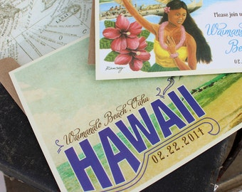 Vintage Travel Postcard Wedding Invitation (Hawaii)