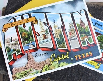 Vintage Travel Postcard Wedding Invitation (Austin, Texas)