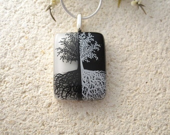 Tree Necklace, Fused Glass Jewelry, Tree of Life, Fused Glass Pendant, Rooted Tree, Silver Necklace, Black White Necklace, 062716p100b