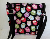 Owl Cross Body Purse - Owls Padded Hip Bag - Owl Sling Bag - Long Adjustable Strap - Owl Crossbody Bag - READY TO SHIP