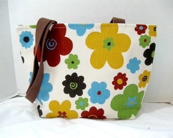 Bold Floral Purse - Handmade Floral Bag - Bold Floral Tote Bag - Mustard Brown Green