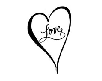 Calligraphy Love Heart Rubber Stamp small