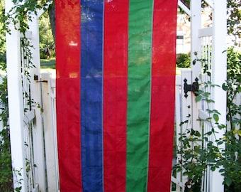 Nautical Ship Flag Vintage Cotton 3 x 5 Yacht Maritime Home Bar Decor Red Blue Green Stripe Regatta Flag