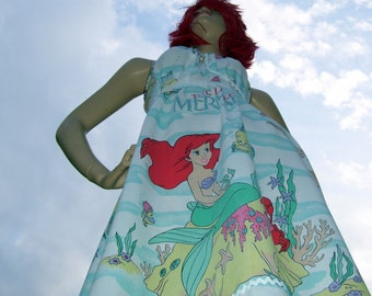 Ariel Mermaid Sundress OOAK Upcycled Adult Geek Princess Sundress Disney Cruise Resort Maternity Mom Party Dress Adult M L XL Plus