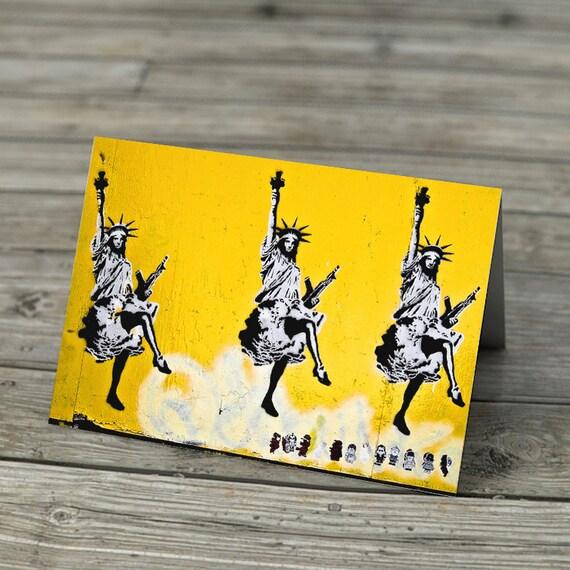 Graffiti Note Card - Statues of Liberty Dancing stencil graffiti photo note card greetings blank inside Americana satire, choice of sizes