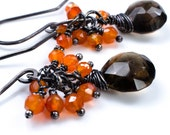 Oxidized Smoky Quartz and Carnelian Silver Earrings